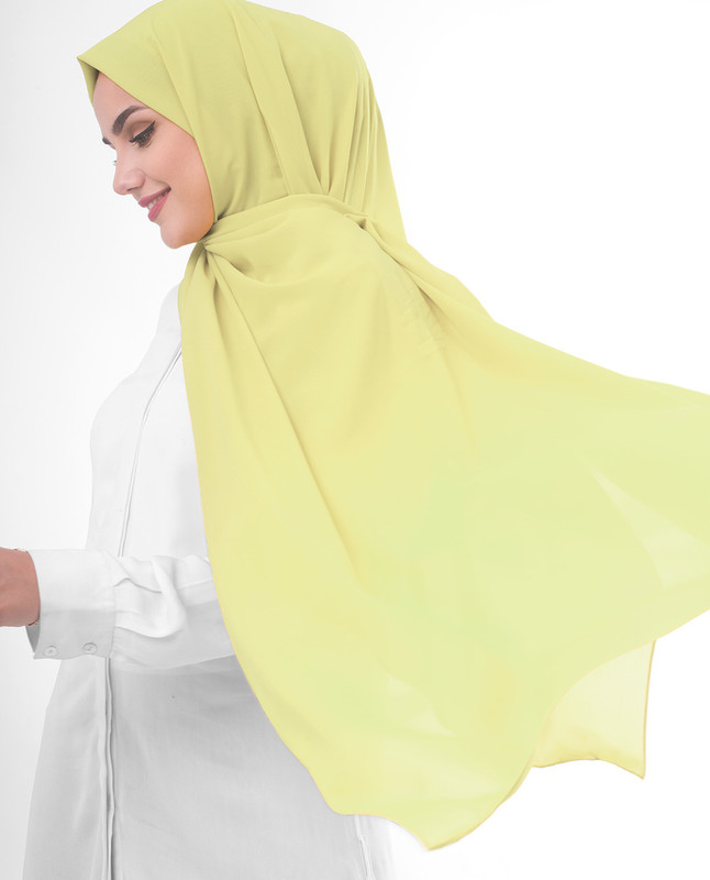 Yellow plain scarf hijab