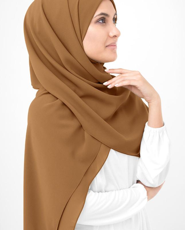 Brown hijab style scarf