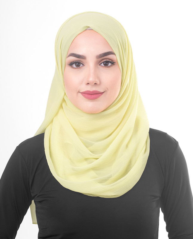Tender Yellow Poly Chiffon  Scarf