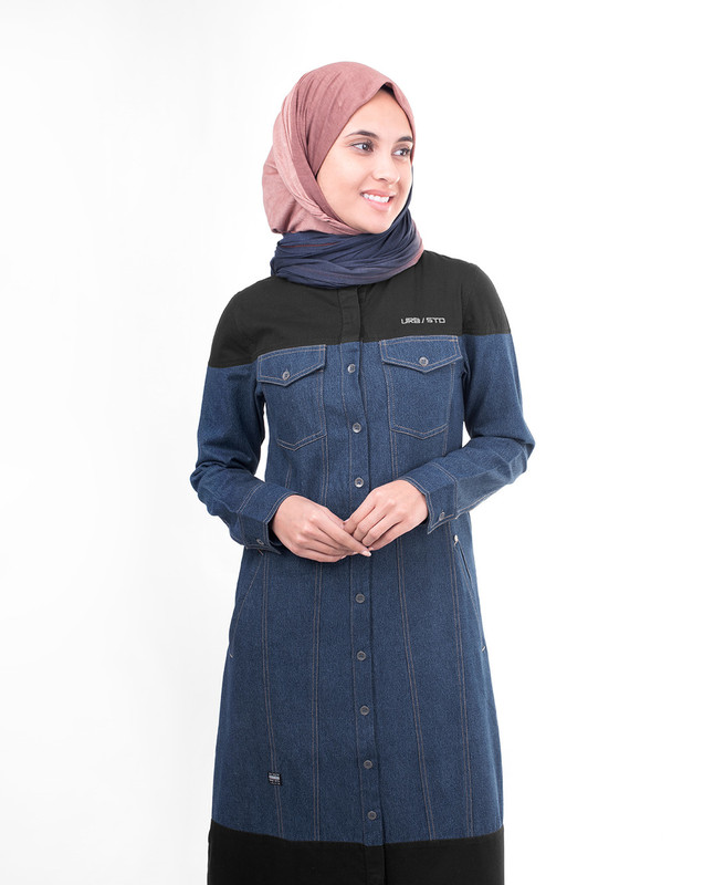 Denim With Black Contrast Hooded Jilbab