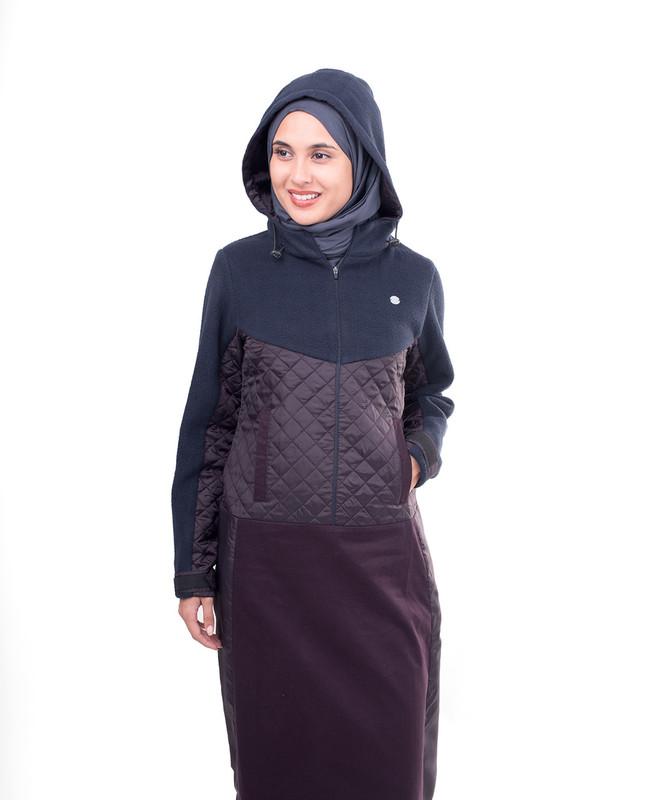 Purple Fleeced Winter Hooded Jilbab