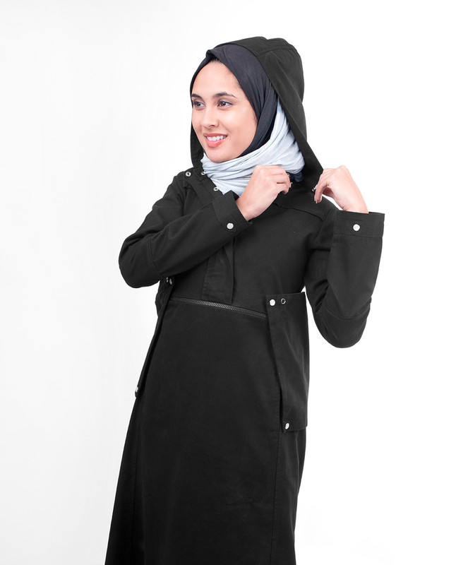 Detachable hood abaya jilbab