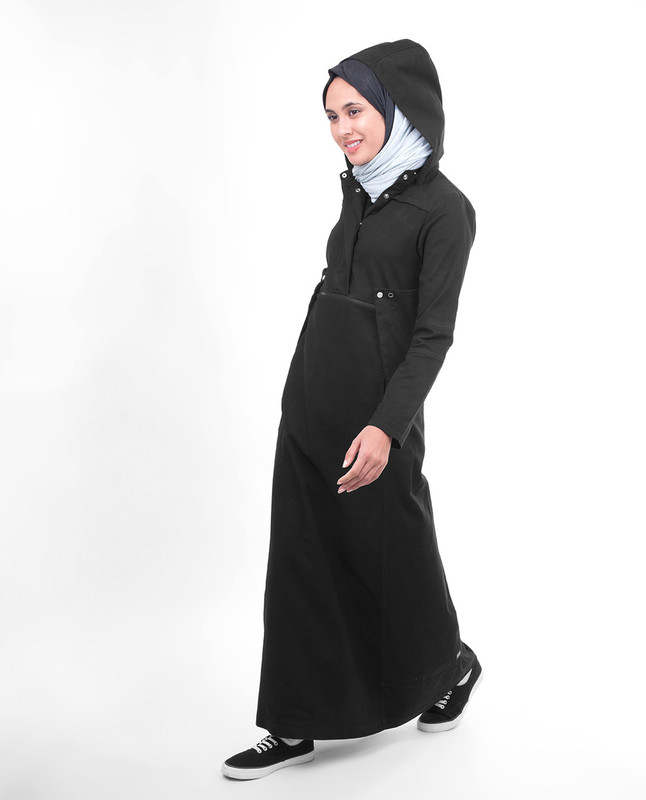 High collar abaya jilbab