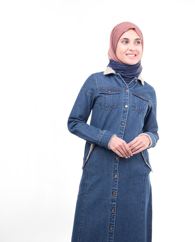 Full Front Open Denim Winter Jilbab