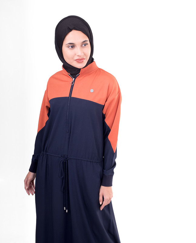 Relaxed Toggle-Waist Colour Blocking Jilbab