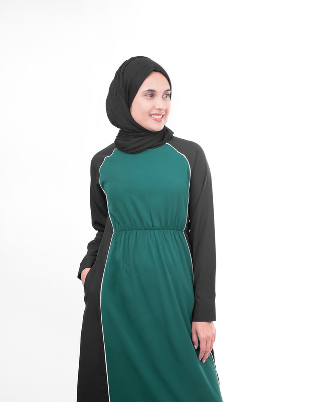 Black and green abaya jilbab