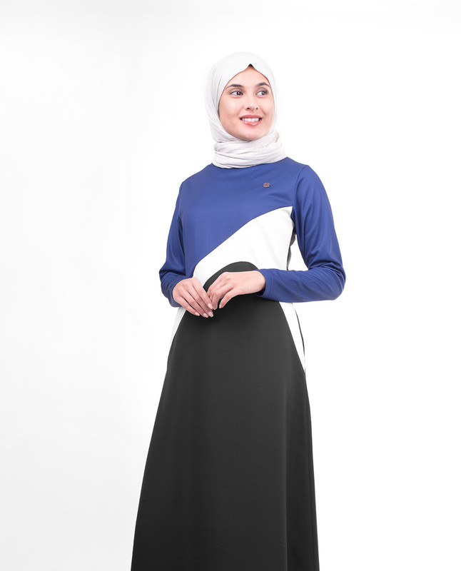 Black and blue abaya jilbab