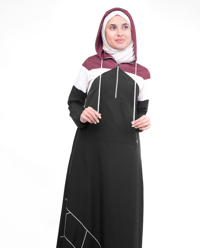 Sporty Active Black Hooded Jilbab