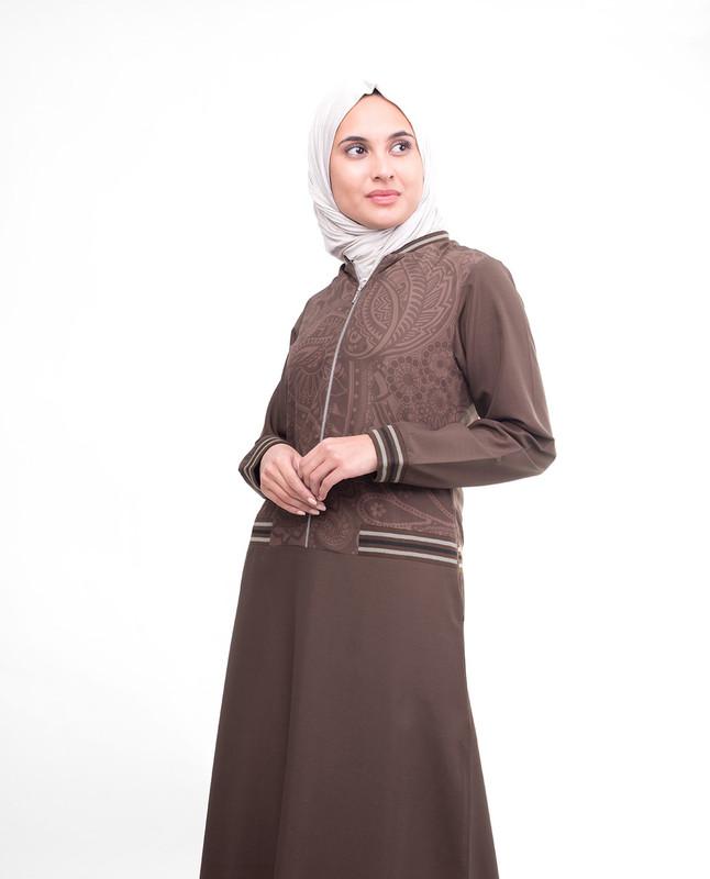 Brown printed abaya jilbab