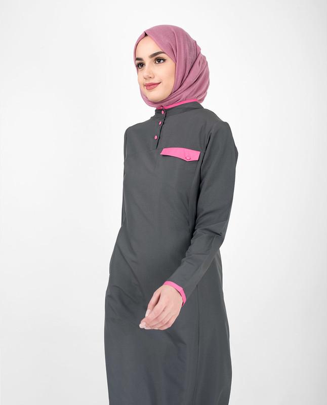 Casual Grey Jilbab With Pink Highlights