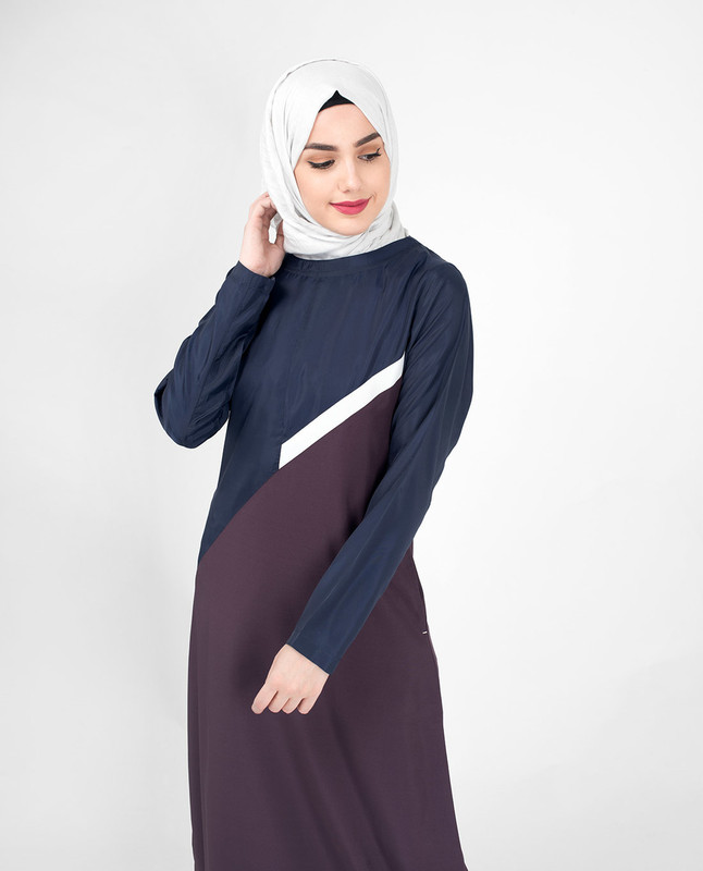 Navy Contrast Classic Route Jilbab