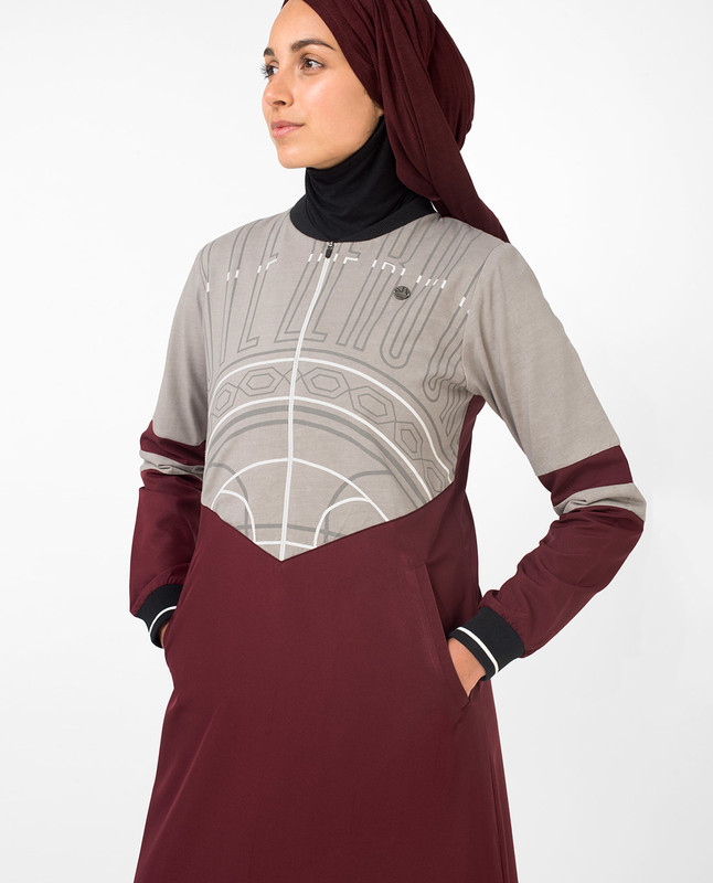 Casual Maroon Jilbab With Chest Print