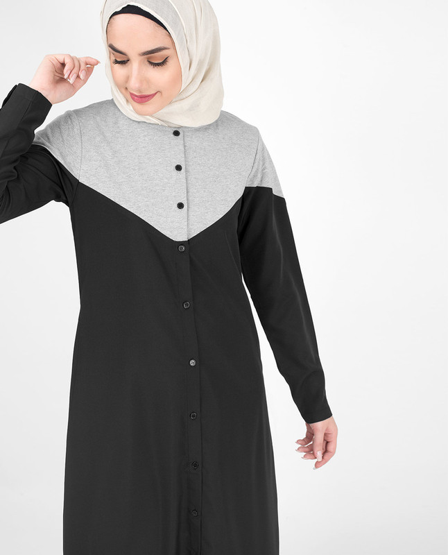 Black & Grey Colour Blocking Jilbab