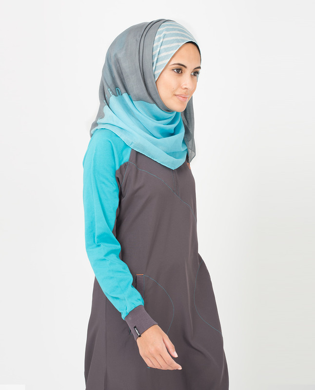Frost Gray and Sky Blue Hijab