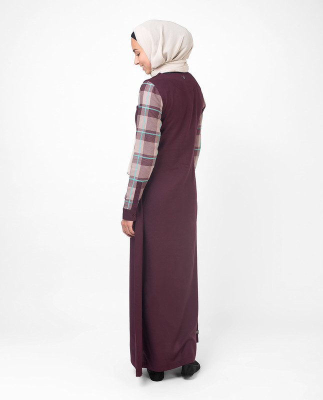 Feminine Checked Deep Purple Jilbab