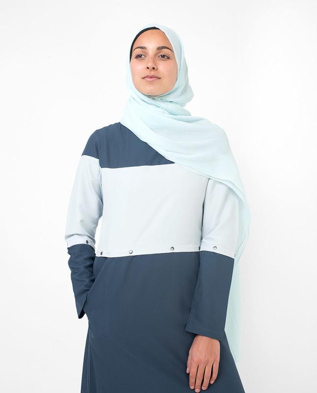 Detachable Blue Colour Blocking Jilbab