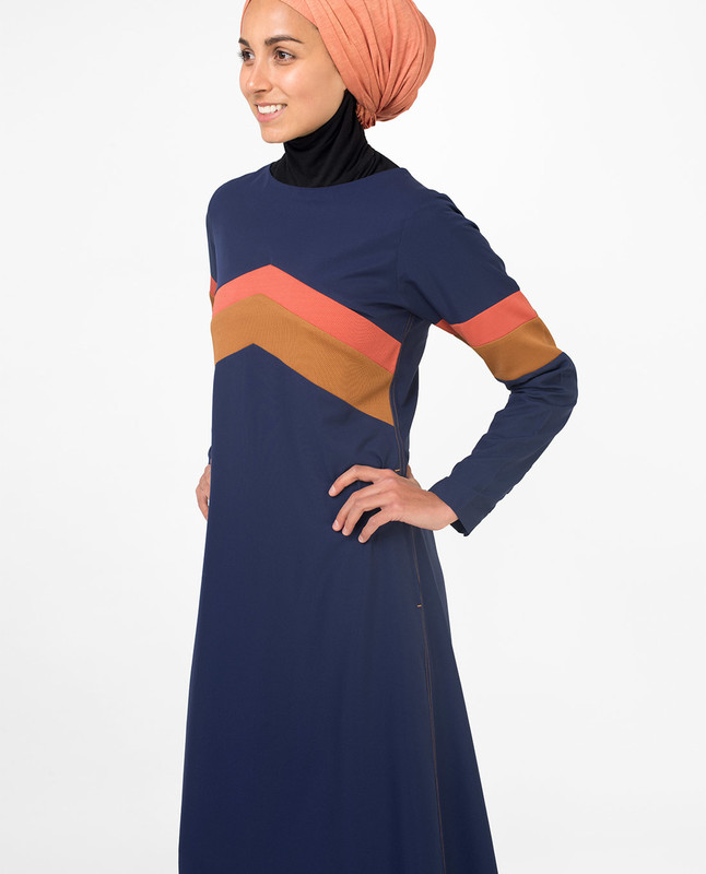 Active Orange Highlight Retro Jilbab