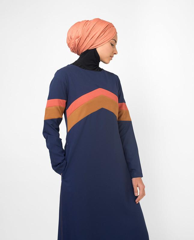 Active Orange Highlight Retro Jilbab