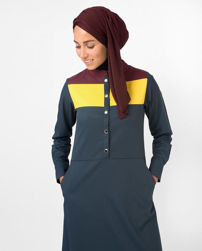 Yellow & Red Colour Blocking Jilbab