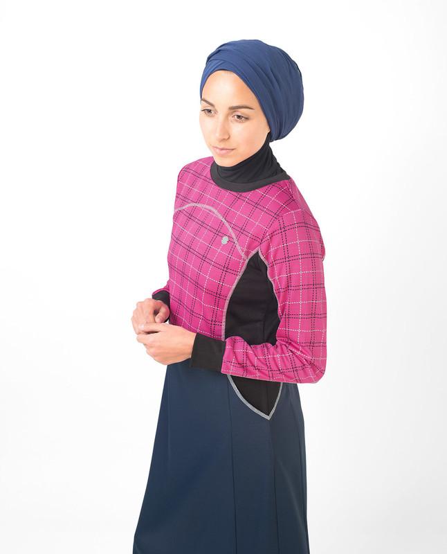 Rose Checked Print Jilbab