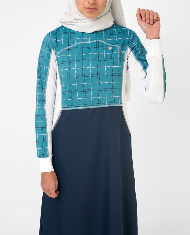 Blue Checked Print Jilbab