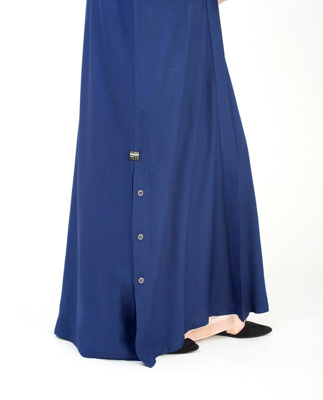 Blue Full Length Viscose Outerwear