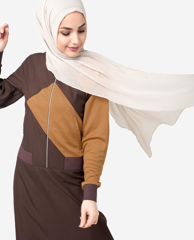 Brown & Gold Flared Zipper Jilbab