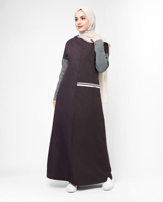 Purple and grey abaya jilbab