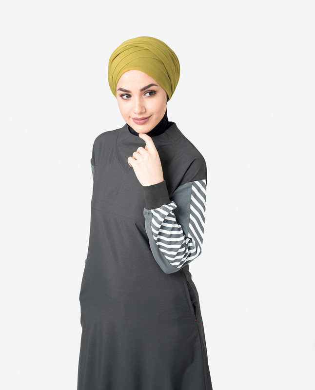 Black & Grey Contrast Striper Jilbab