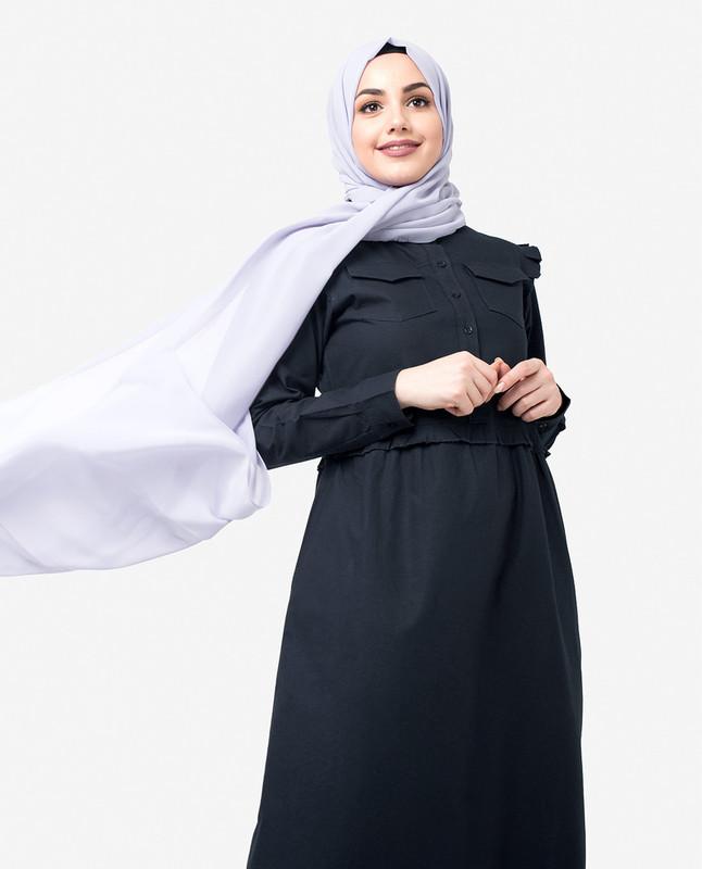Navy Ruffle Jilbab