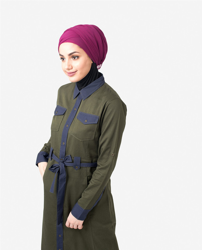 Green & Navy Full Front Open Urban Jilbab