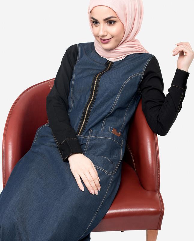 Blue denim abaya jilbab