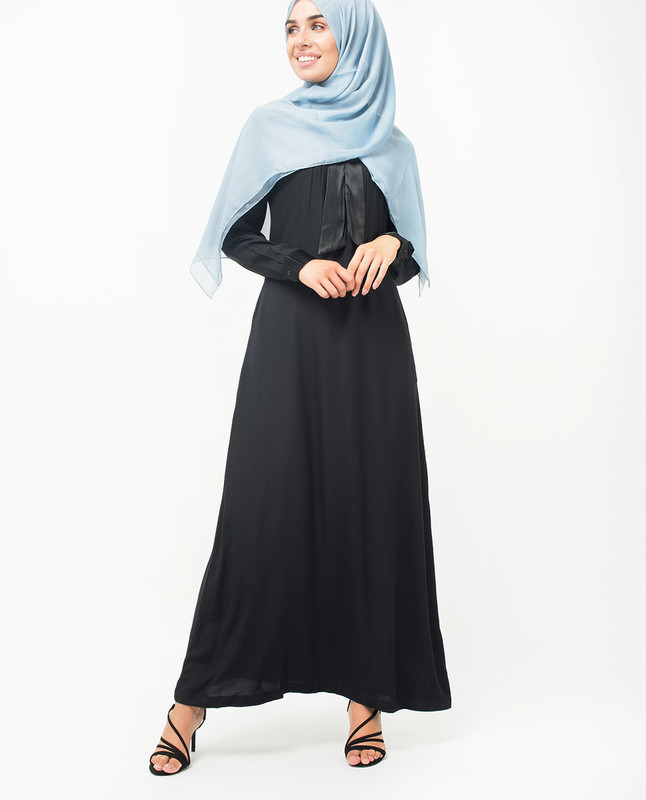 Satin Neck Tie Up Black Abaya