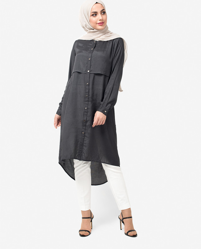 Charcoal Dipped Hem Shirt Dress