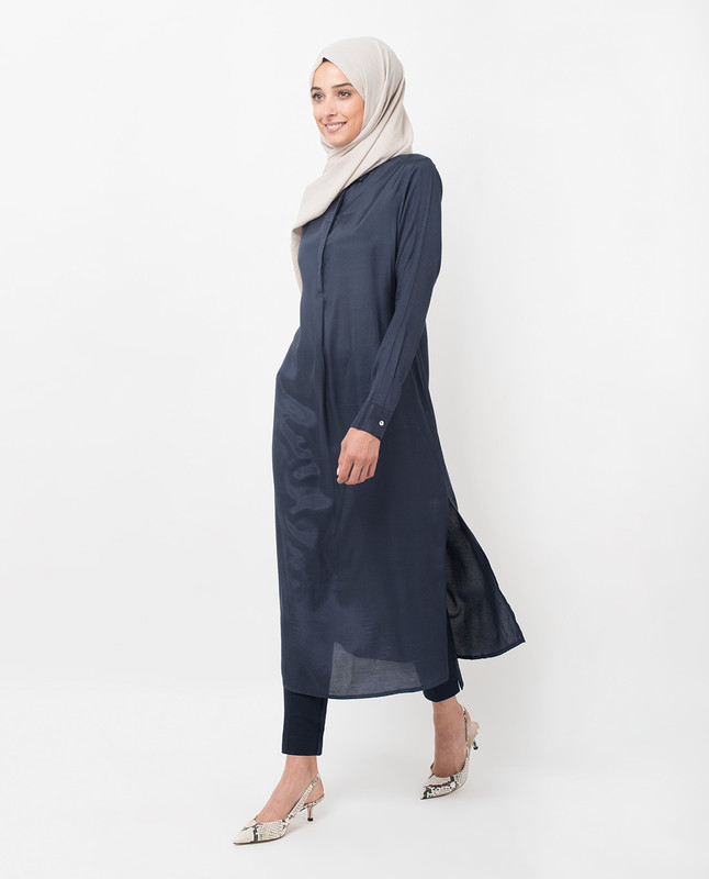 Navy knife Pleat Midi Dress