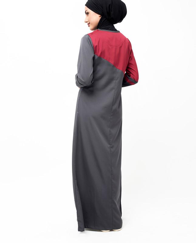 Grey & Red Colour Block Jilbab