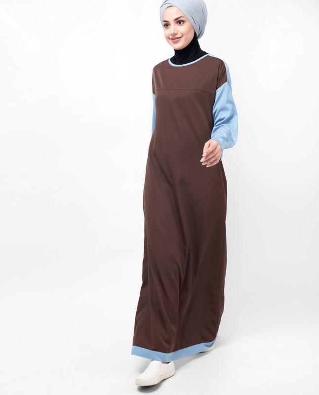 Brown & Blue Drop Shoulder Jilbab