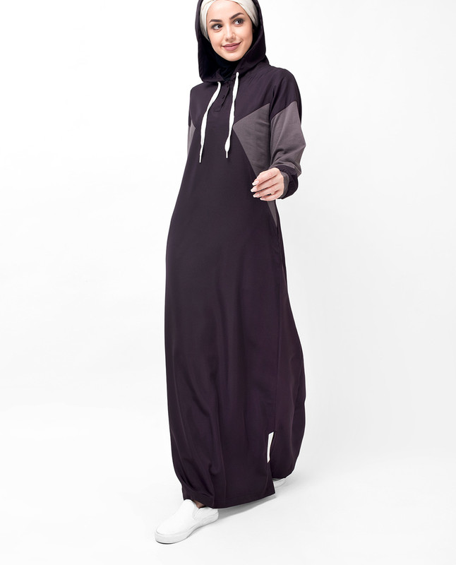 Deep Plum Classic Route Hooded Abaya