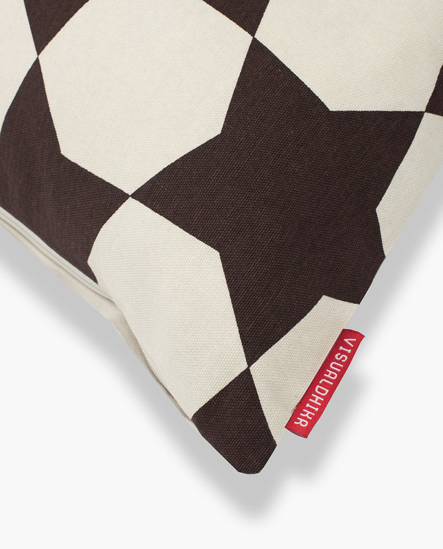 Islamic Geometry Print Cushion Cover - Brown / Gold