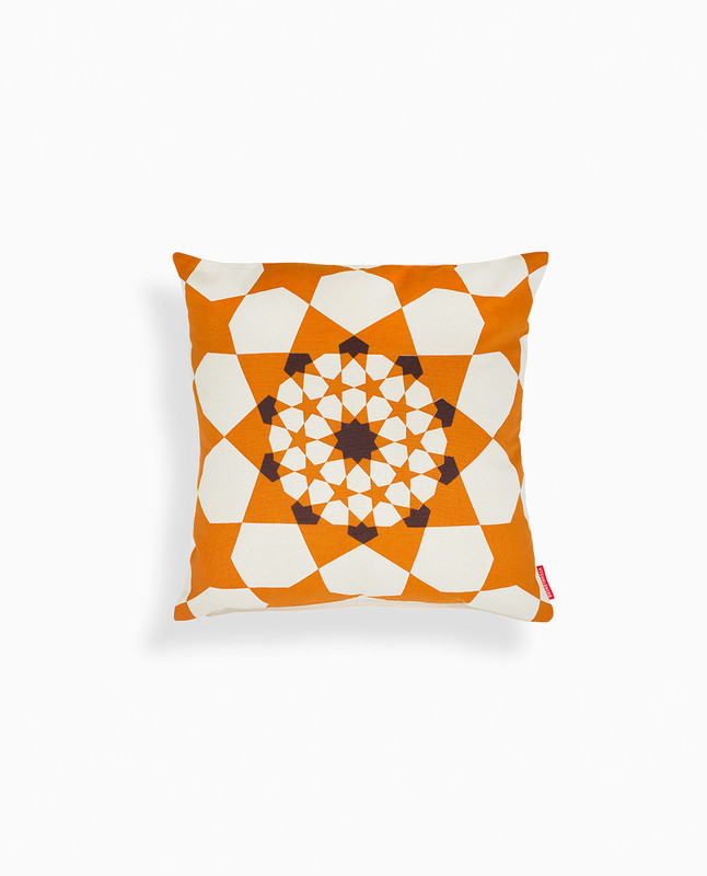 Islamic Geometry Print Cushion Cover - Gold/ Brown