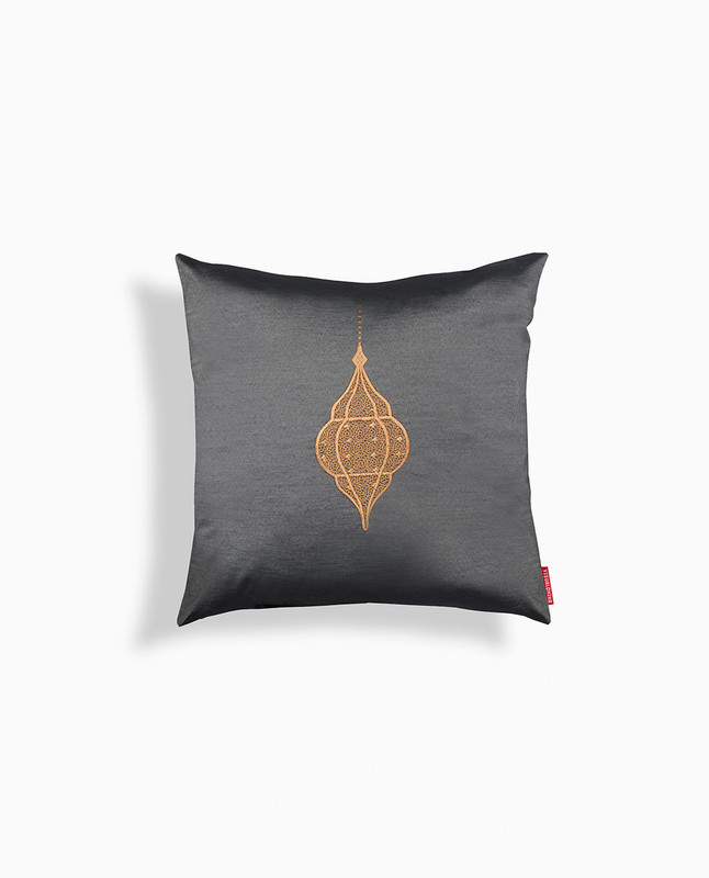 Lantern Embroidery Cushion Cover - Black / Mocha