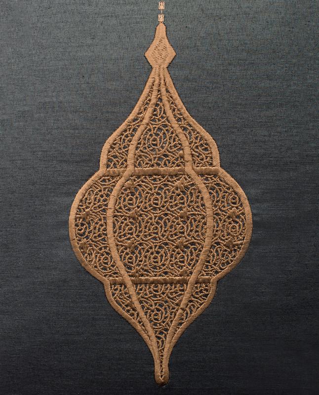 Lantern Embroidery Cushion Cover - Black / Mocha