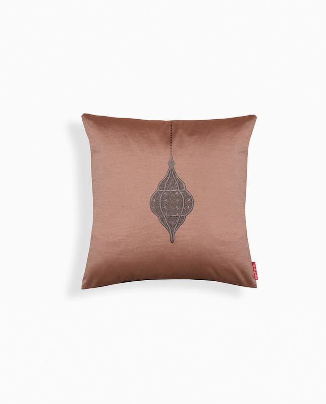 Lantern Embroidery Cushion Cover - Mocha / Black