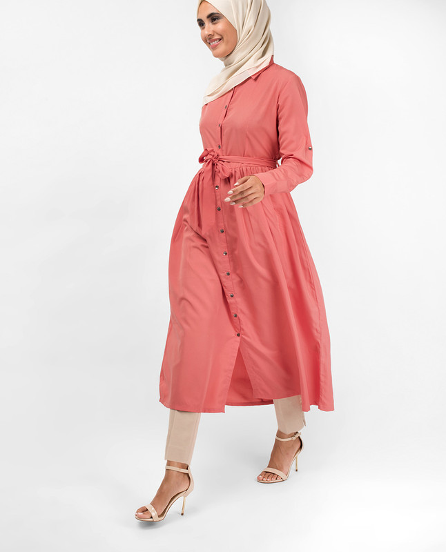 Dusty Rose Gathered Shirt Dress