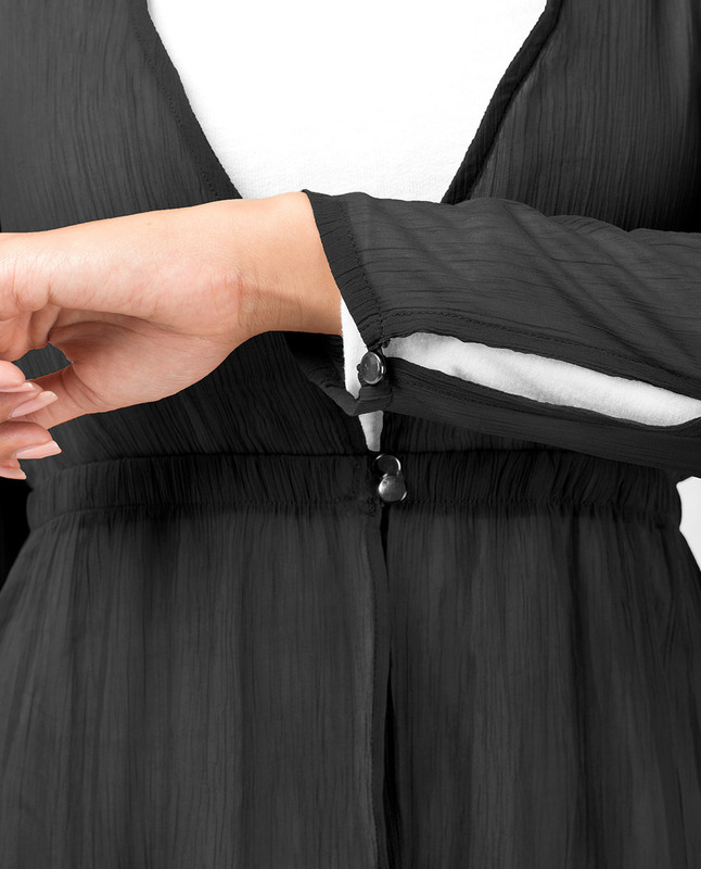 Black Loop Button Outerwear