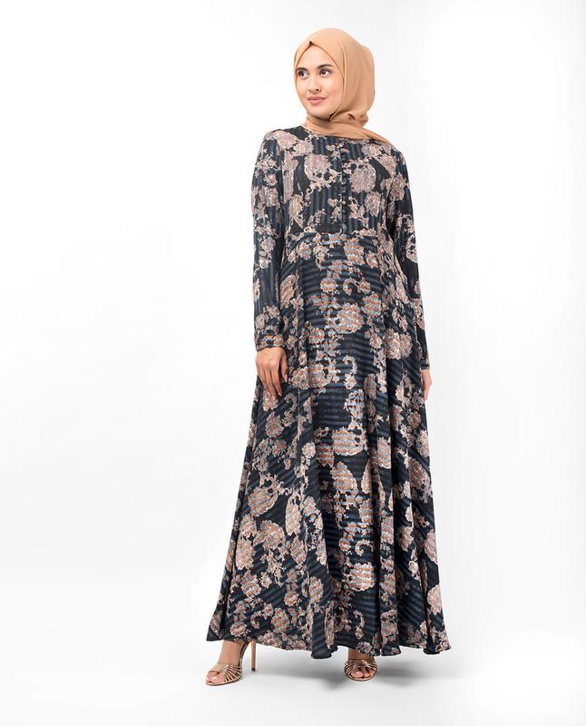 Floral Print Flared Fit Abaya