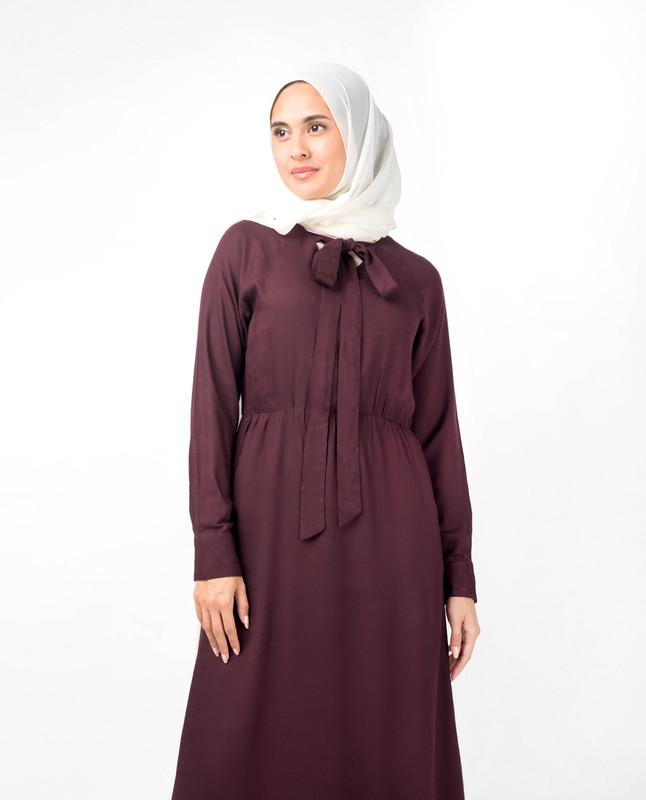 Maroon Elastic Waist Abaya