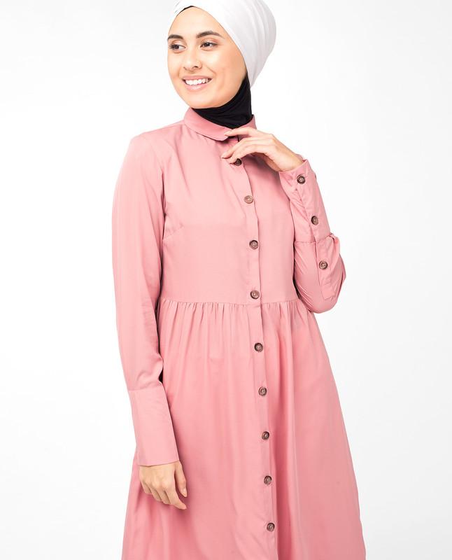 Pink Button Down High Low Shirt Dress