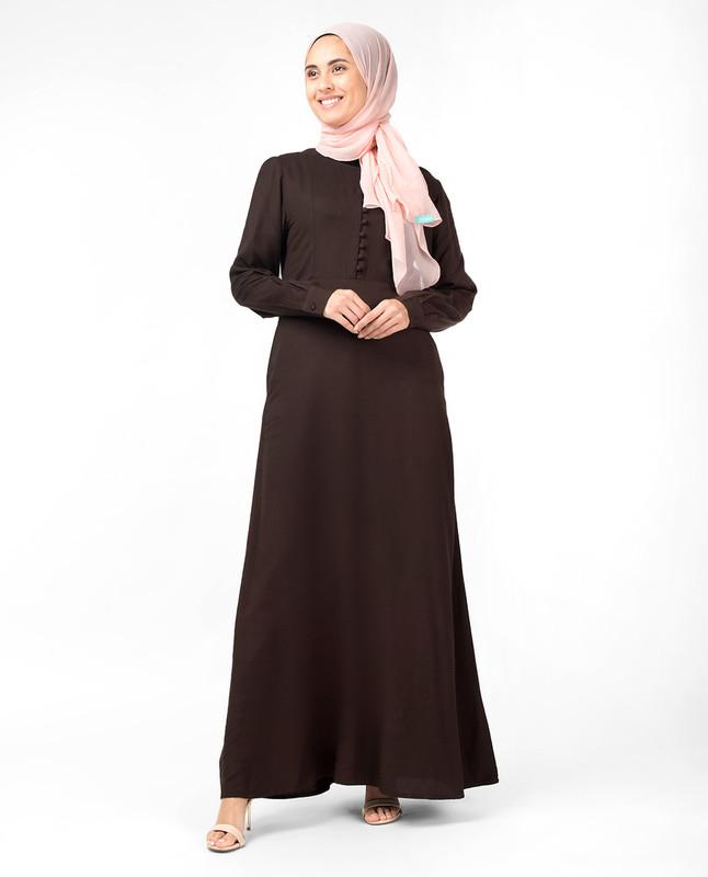 Slim Cocoa Maxi Dress Abaya