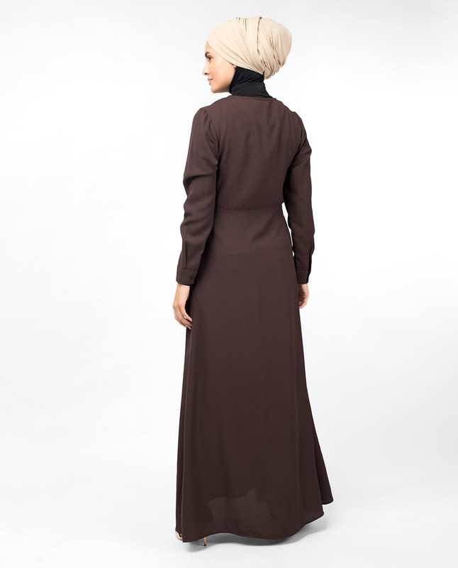 Brown Hook Slim Flared Abaya